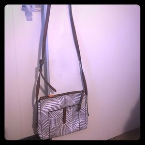 Fossil crossbody with white/brown leather design